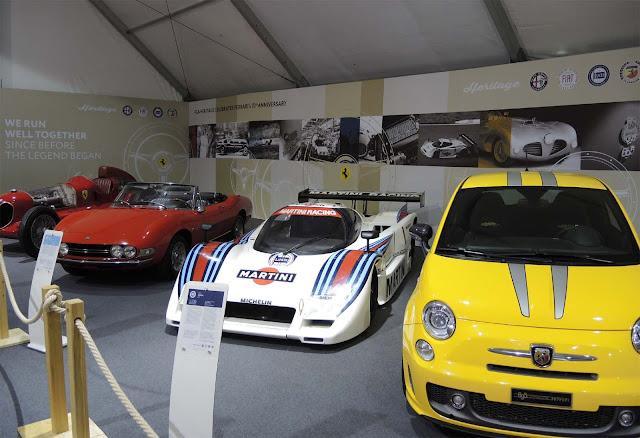 Gelber Abarth 695 Tribute Ferrari, Lancia LC2, Roter  Alfa Romeo 6P16C Bimotore