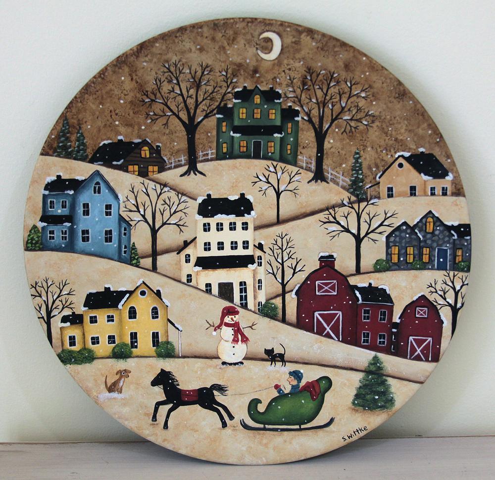 Winter Folk Art Painting Primitive Wood Plate Winter Country Scene Village Saltbox Houses Christmas Decor Horse Sleigh & Winter Folk Art Painting Primitive Wood Plate Winter Country Scene ...