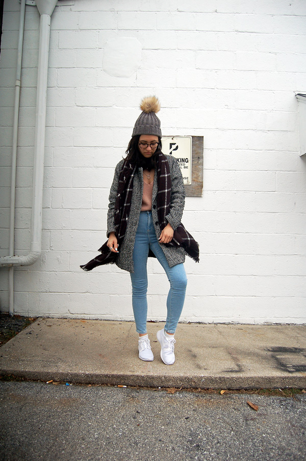 grid print scarf blue jeans white sneakers