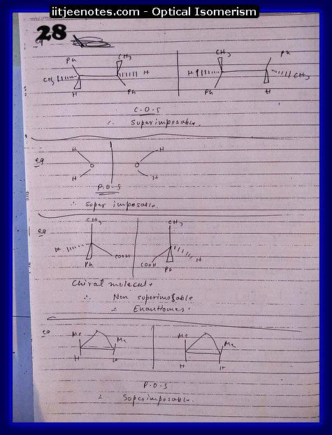 Optical Isomerism Notes jee