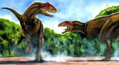 Imagen del Sinraptor peleando a colores