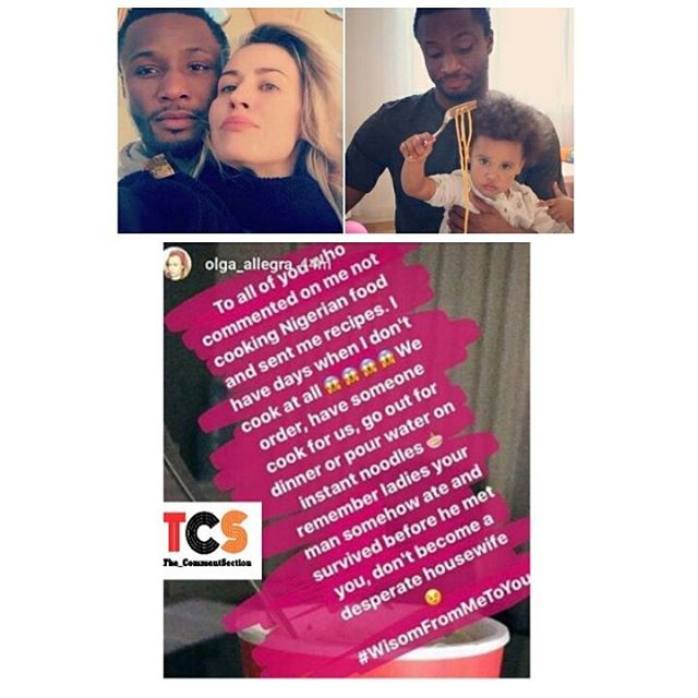 Don't be a Desperate housewife - Mikel Obi's Girlfriend to Nigerians Bothered About her cooking Spaghetti for him