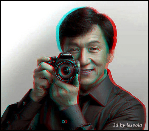 Poza cu Jackie Chan in 3D anaglyph