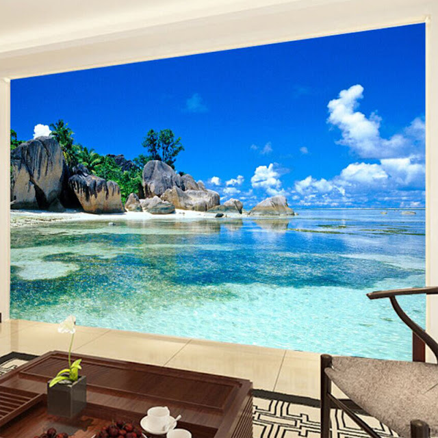 beach wall mural ocean waves wallpaper tropical mural nature landscape wallpaper beautiful beach 3D photo mural for bedroom living room