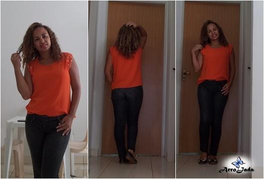 Look Laranja - Calça Preta e Blusinha Laranja