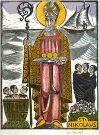 Image of Saint Nicholas with his seven symols