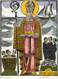 Image of Saint Nicholas with his seven symols