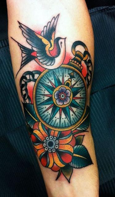 Stunning Traditional Compass Tattoo