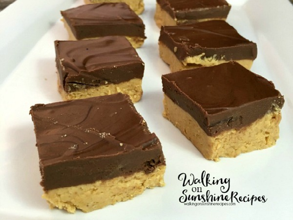 An easy and delicious no bake recipe for homemade peanut butter bars from Walking on Sunshine Recipes.