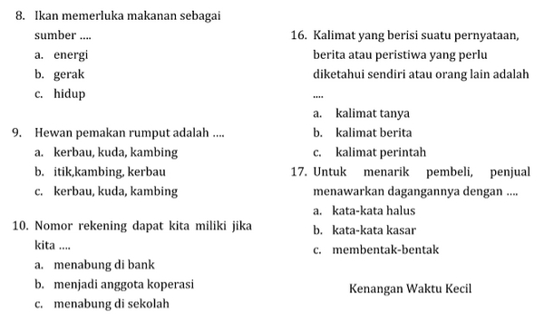 Download Soal Calistung Kelas 3 SD Pdf