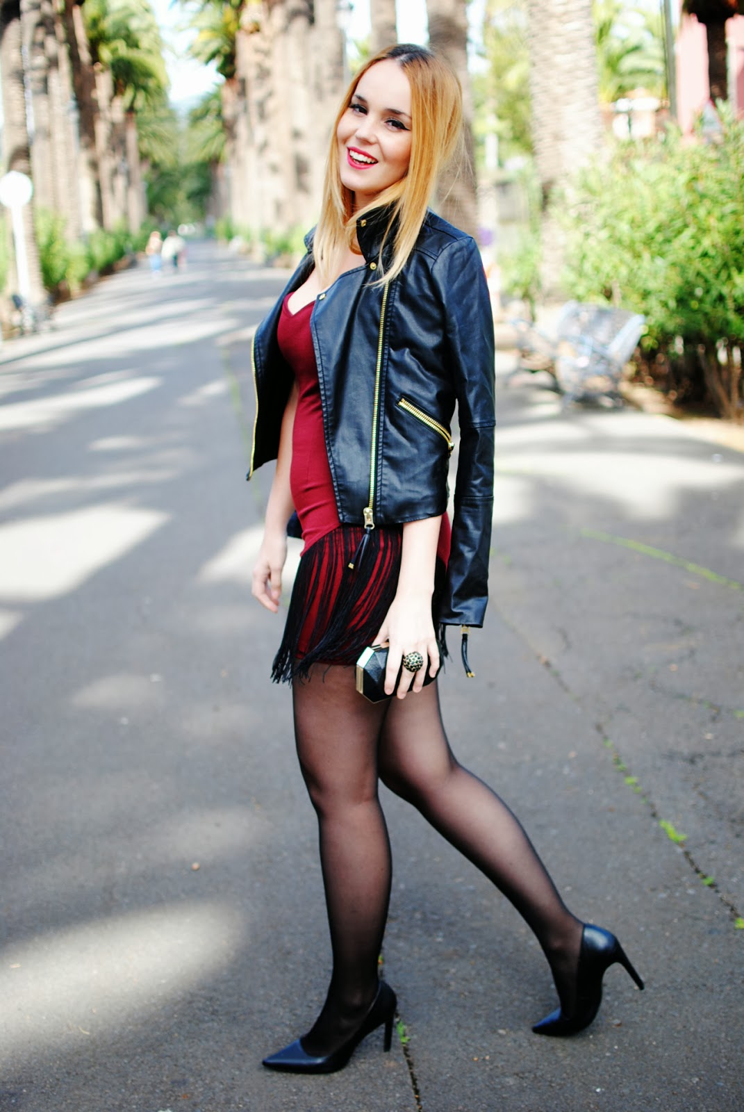 nery hdez, dress, fringes dress, leather jackets, blonde, san valentine , valentine's day look
