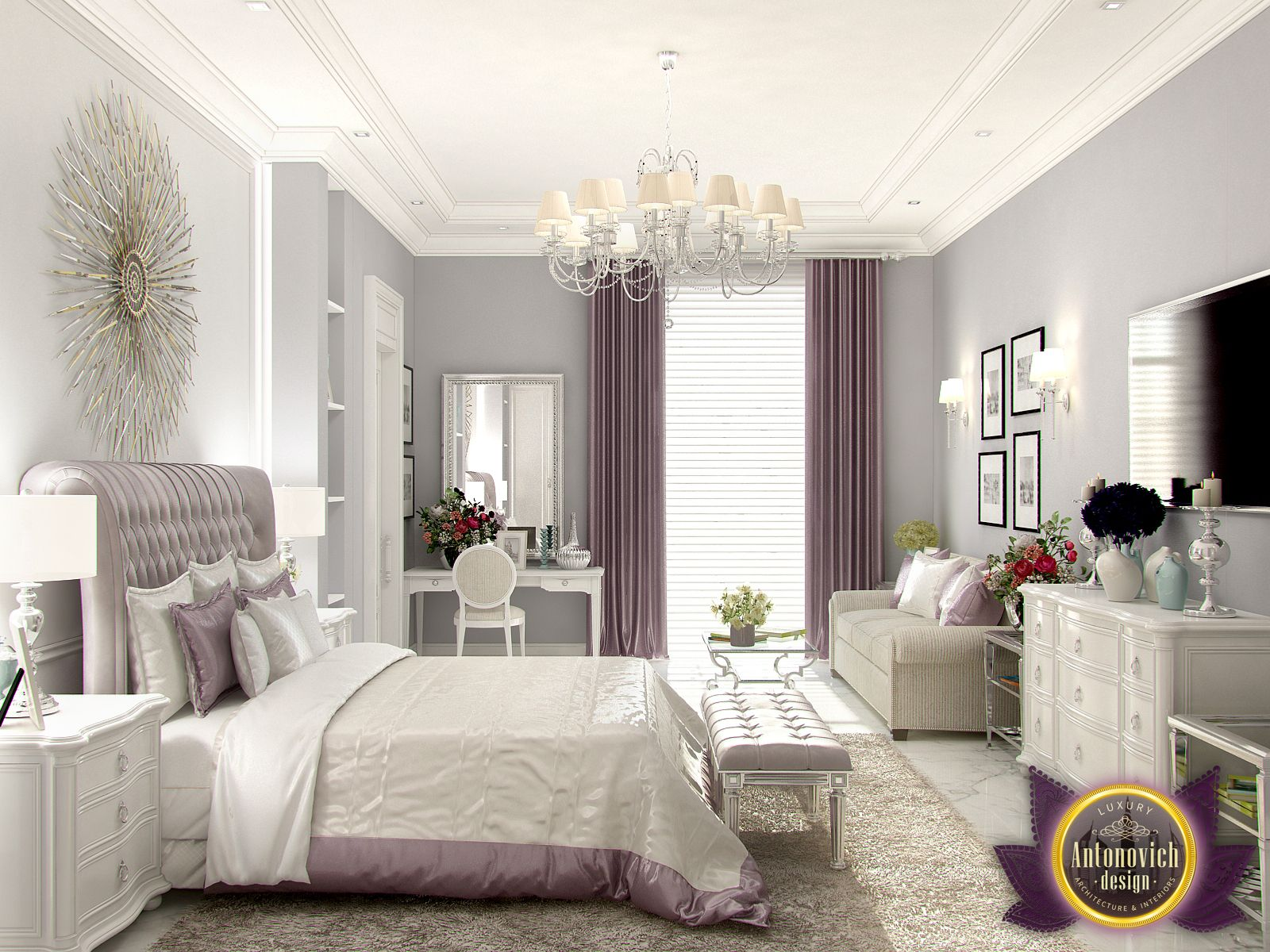 luxury bedroom furniture purple elements. Decorative Elements Fully Comply With The Traditions Of Modern Classics. Against Background Muted Shades Gray Walls Looked Juicy And Bright Luxury Bedroom Furniture Purple N