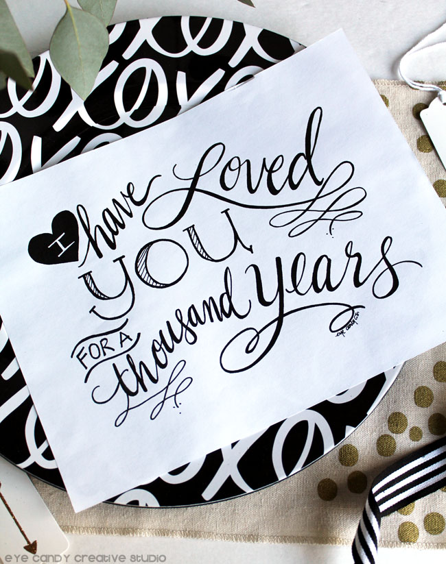 word art, modern calligraphy, black & white stripe, black & gold, wedding