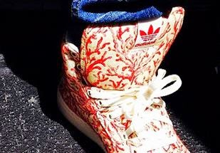 Pharrell Shows Off Custom adidas With Coral Printed Fabric