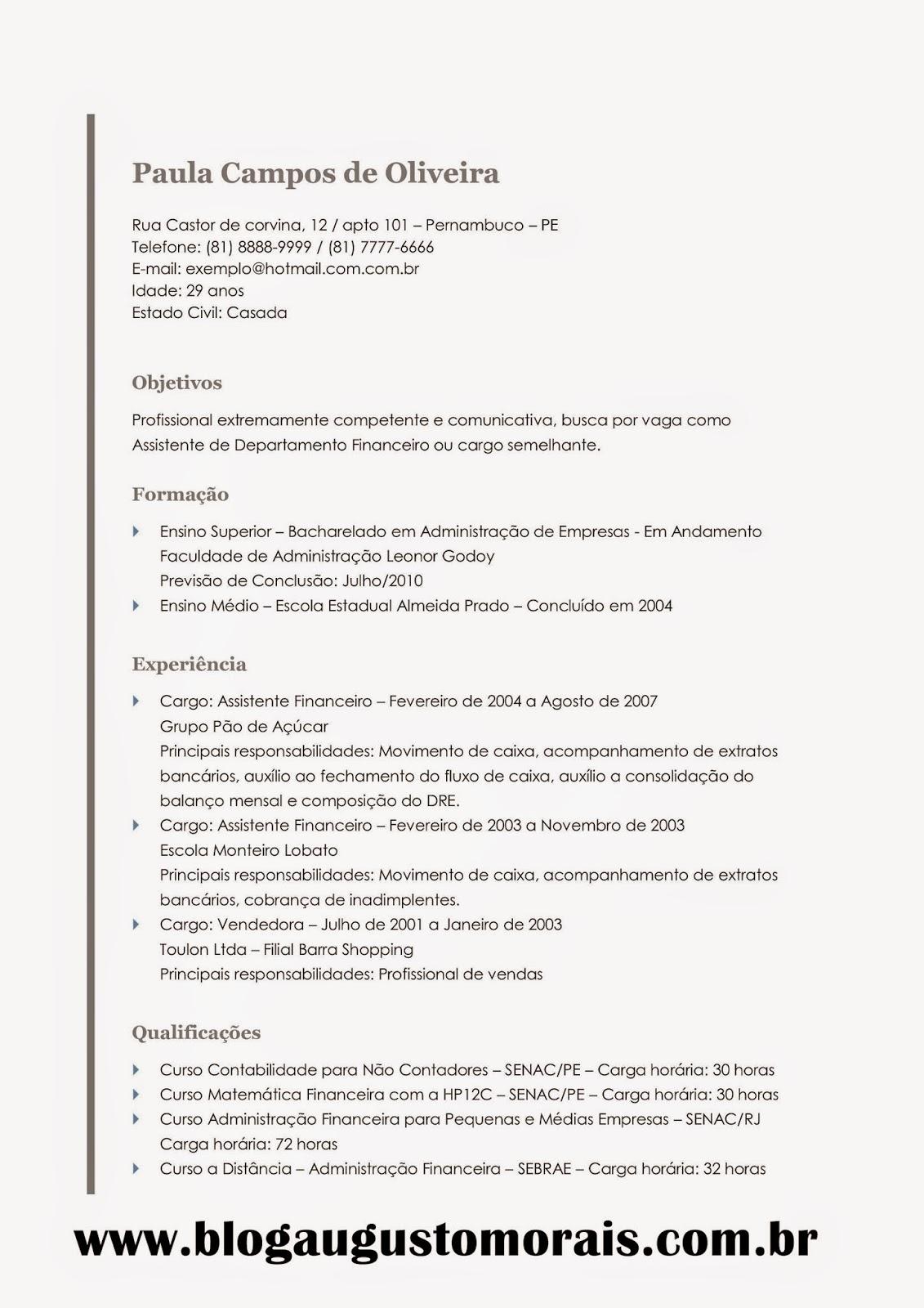 Modelos De Currículo Profissional Grátis Blog Augusto