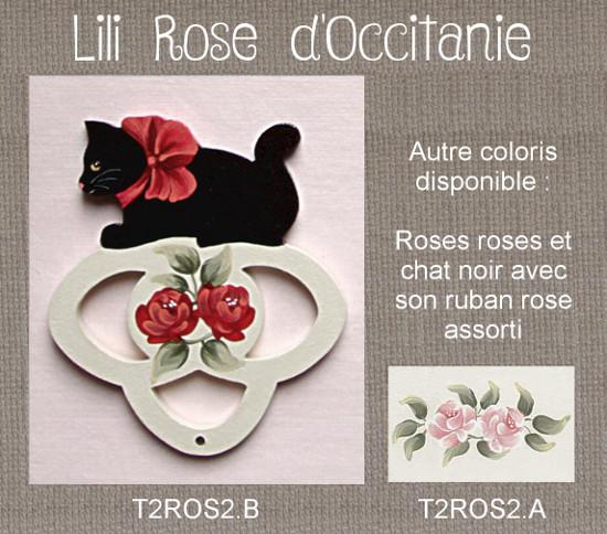 Tri-fils bois peint orné d'un chat noir et de roses, couleur au choix. Broderie et point de croix