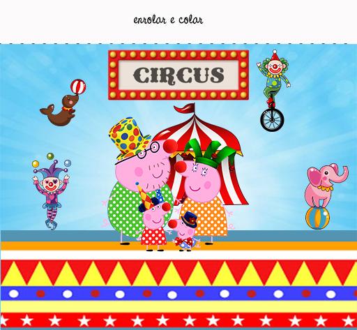 Etiquetas de Peppa Pig en el Circo para imprimir gratis.