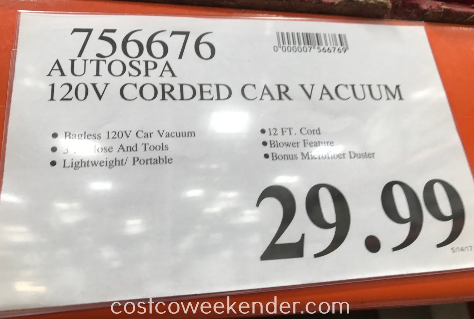 Deal for the Autospa Auto-Vac 120v Bagless Vacuum at Costco