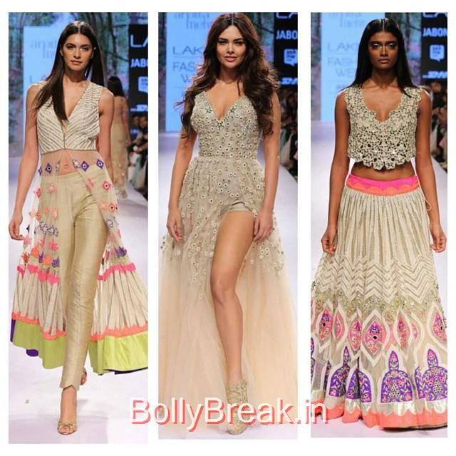 our favourites from the new arpita mehta line! esha gupta , looked beautiful in the nude colored gown. the gown slightly has elie saab , features. maybe thats why we love it so much! arpita mehta , lakme fashion week , lfw 2015 , gown , lengha , love , spring , festive colors , vibrant colors , fashion , insta fashion , happy spring , beautiful , trend-setter ,, Esha Gupta in Arpita Mehta Dress - Lakme Fashion Week 2015