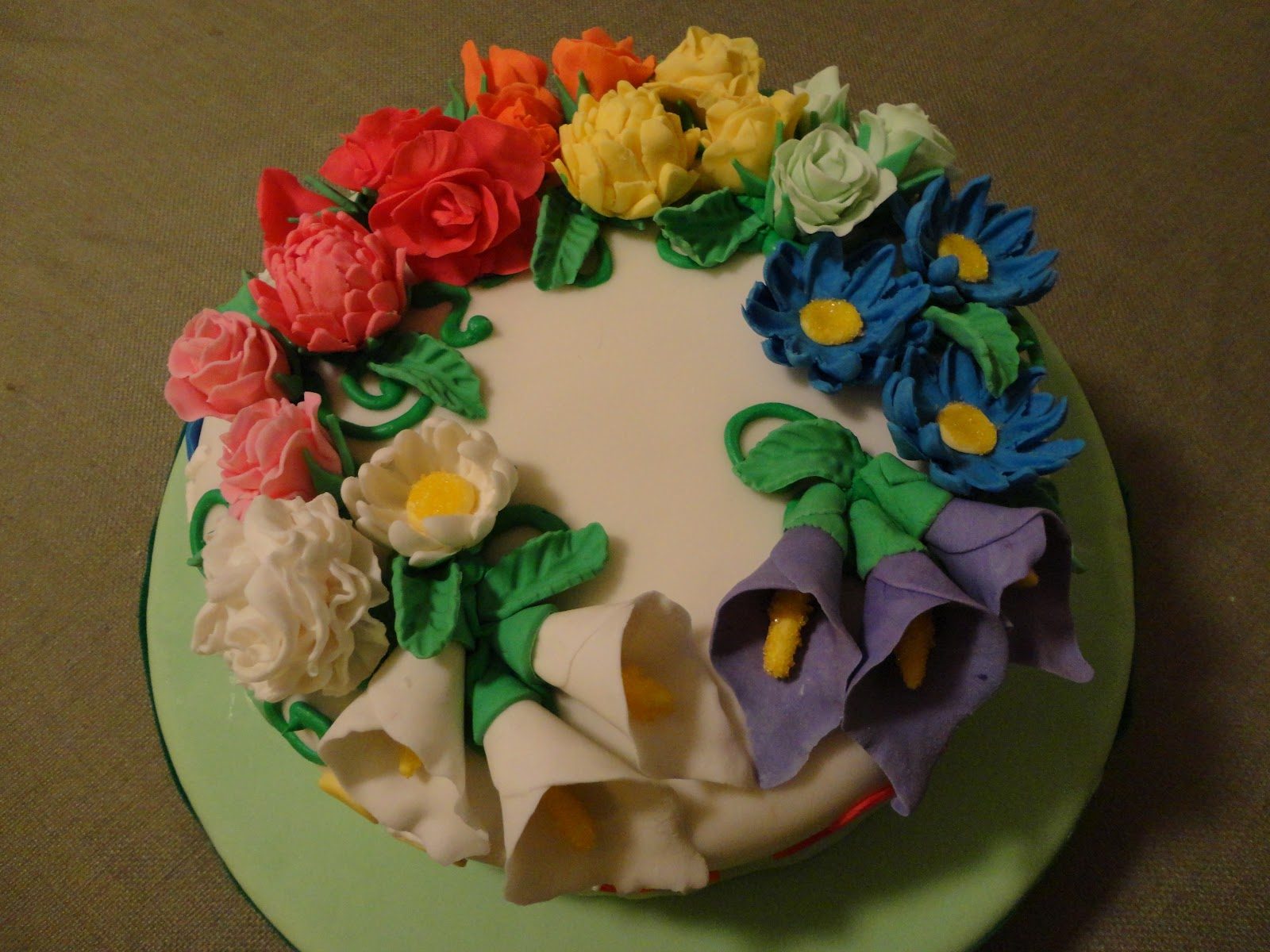 The Adventures Of J And K Rainbow Flowers Cake