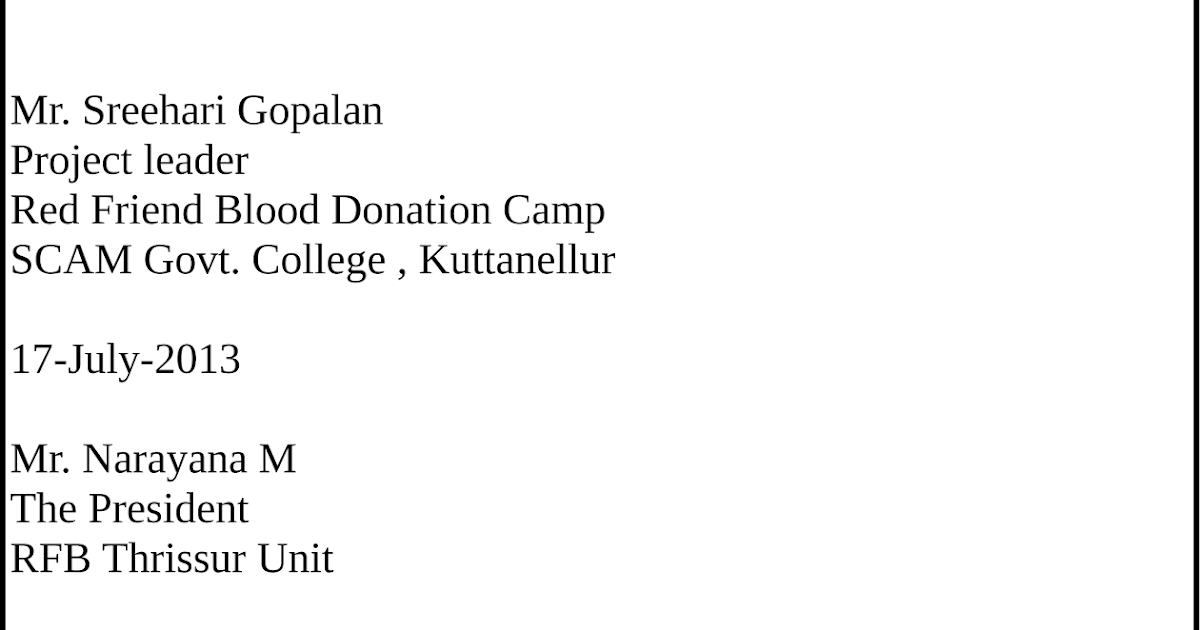 5 Application Letter For Blood Donation Camp For Camp