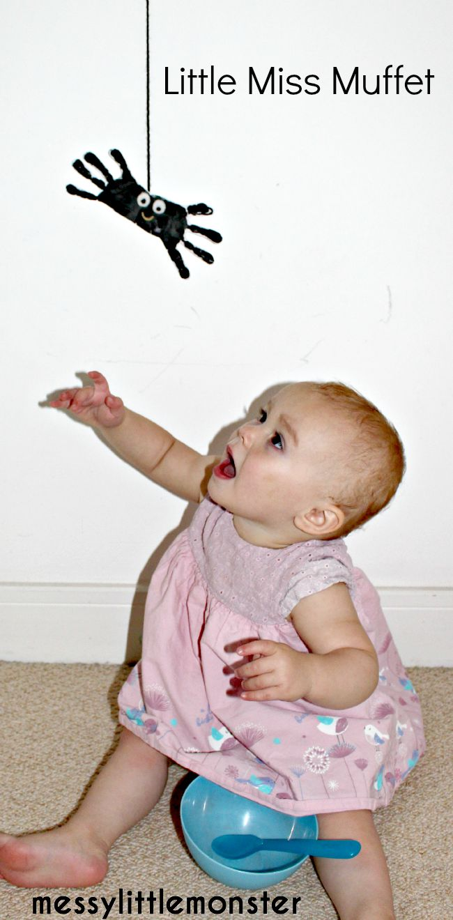 Little miss muffet handprint spider craft for kids. Easy nursery rhyme activities.