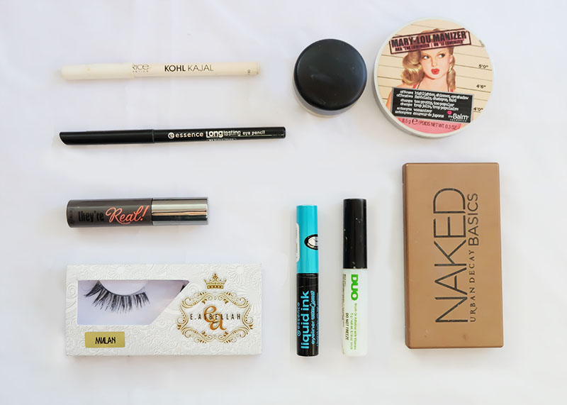 Makeup Products for a Basic Eyeshadow Tutorial featuring Mac, Essence, Catrice, Urban Decay, The Balm, E.Asbellah
