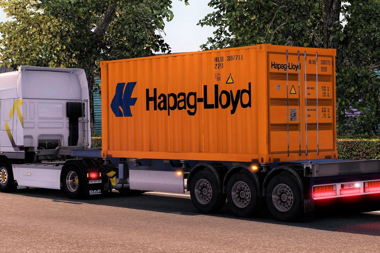 Silva ETS2 Mods: Pack Essencial de Contentores: Hapag-Lloyd