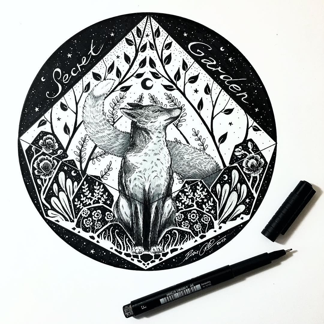 02-Secret-Garden-Fox-Pixie-Cold-Fantasy-Animals-in-Different-Style-Drawings-www-designstack-co