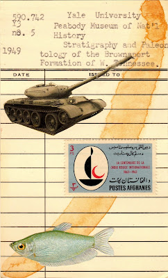 Afghanistan postage stamp red crescent battle tank tropical fish library due date card Dada Fluxus mail art collage