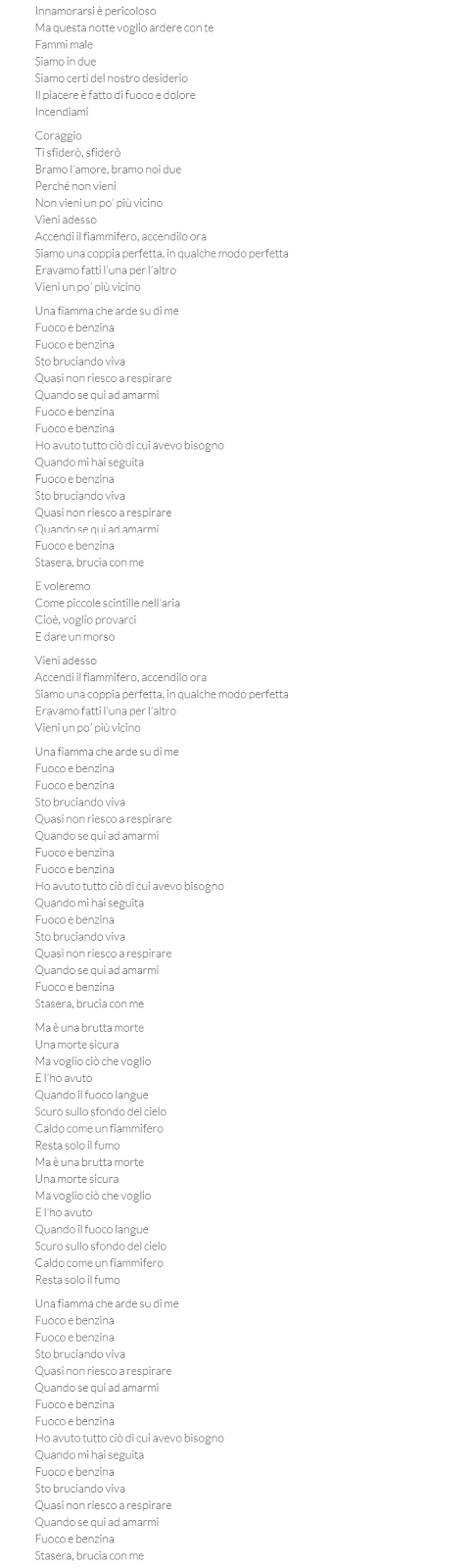 Traduzione testo Fire Meet Gasoline, Sia