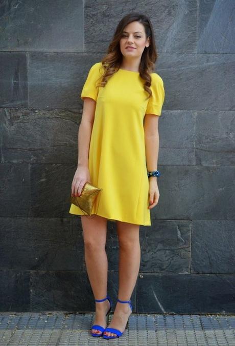 vestido de moda casual amarillo