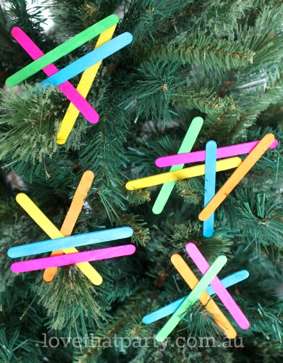 DIY Neon Geometric Christmas Tree Ornaments/Decorations at Love That Party. www.lovethatparty.com.au