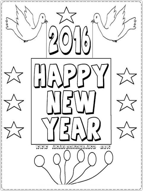 gambar tahun baru 2016 untuk mewarnai