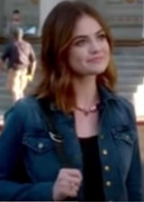 PLL Fashion Aria Montgomery (Lucy Hale) Blue Cropped Denim Jacket 7x20, Current/Elliott The Snap Jacket