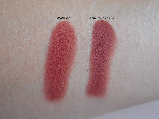 Wet n Wild Color Icon Rose in the Air #7 vs ABH Modern Renaissance Red Ochre