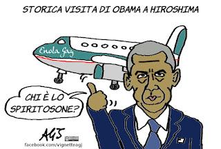obama, hiroshima, bomba atomica, satira, vignetta