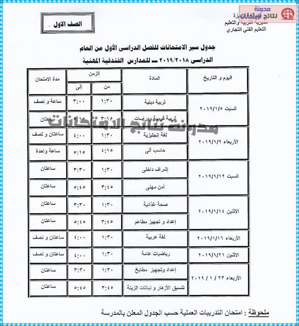 جدوال امتحانات النقل للتعليم (التجارى والفندقى) لمحافظة الترم الاول 2019/2018
