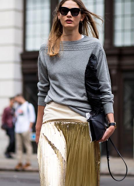 metallic skirt street style and sweater