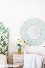 Sarah M Dorsey Designs 80s Chandelier To Glass Mirror