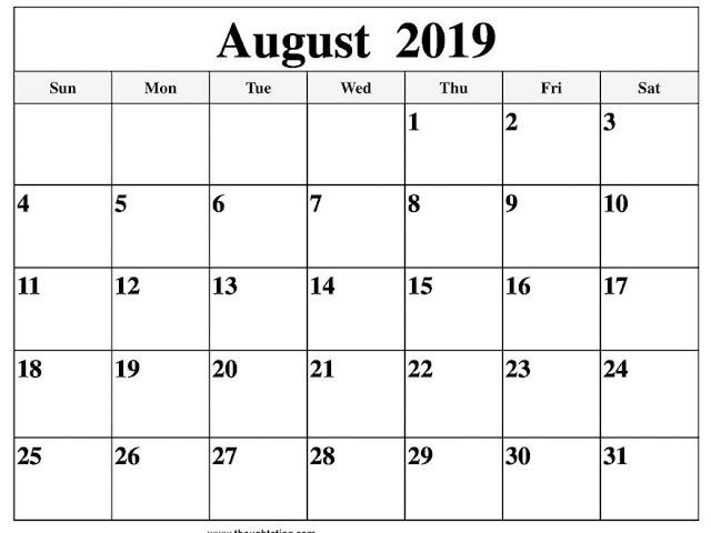 August 2019 Calendar, Free August 2019 Calendar, August 2019 Calendar Printable, August 2019 Calendar Template, August 2019 Calendar Wallpaper