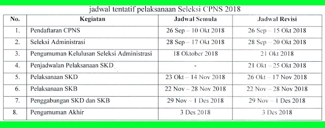 jadwal pelaksanaan seleksi cpns 2018