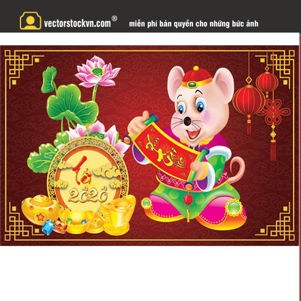 chuột vàng 2020 file thiết kế lịch tết