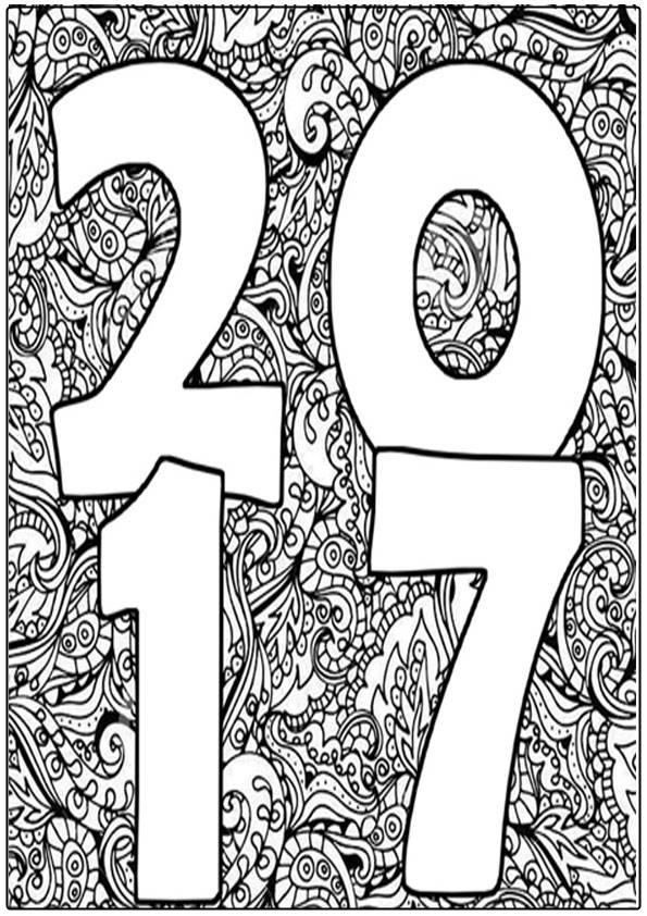 New Year 2017 Coloring Pages For Adult Realistic