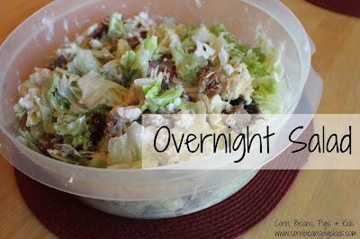 Make Ahead Easter Dinner Recipes - Overnight Salad #Celebrate365