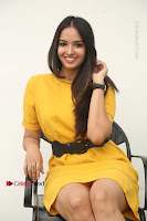 Actress Poojitha Stills in Yellow Short Dress at Darshakudu Movie Teaser Launch .COM 0227.JPG