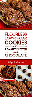 Flourless and Low-Sugar Cookies with Peanut Butter and Chocolate found on KalynsKitchen.com
