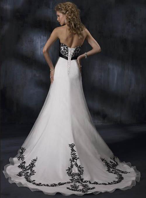 dresses lace gowns bridal strapless line designs gown accents organza decoration sash schwarz bridesmaid brautkleid brides appliques trim train weddings