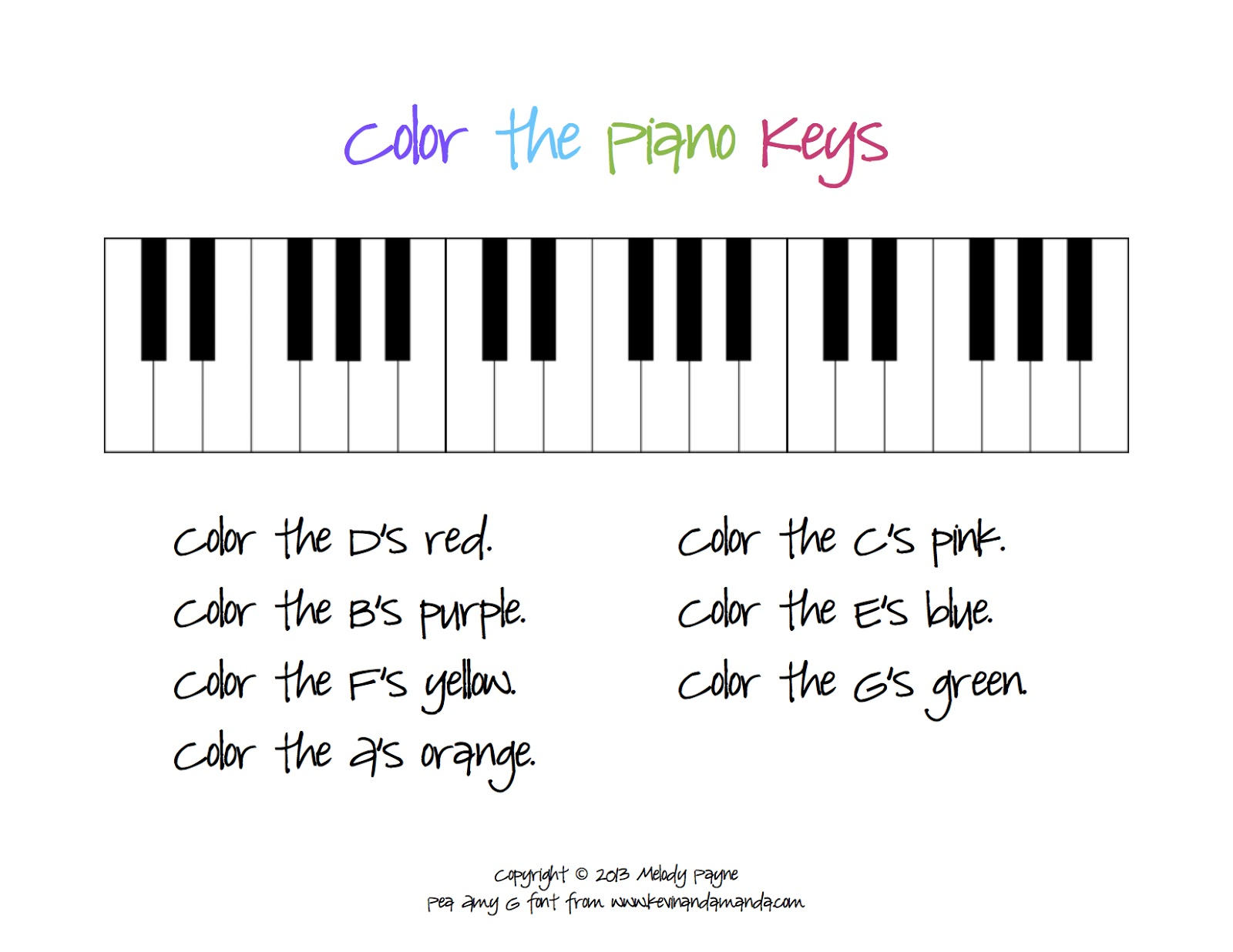 Color The Piano Keys Sheet