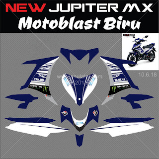 Sticker striping motor stiker Yamaha New Jupiter MX 135 Biru Hitam